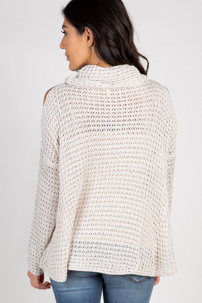 Beige Open Knit Cowl Neck Sweater