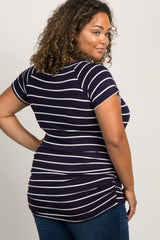 Navy Striped Short Sleeve Fitted Plus Top