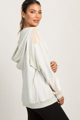 Ivory Velvet Terry Panel Sweater
