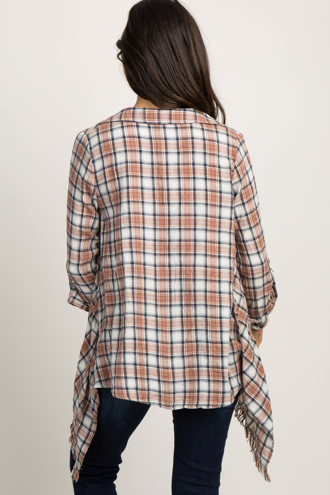 Mocha Plaid Frayed Draped Cardigan