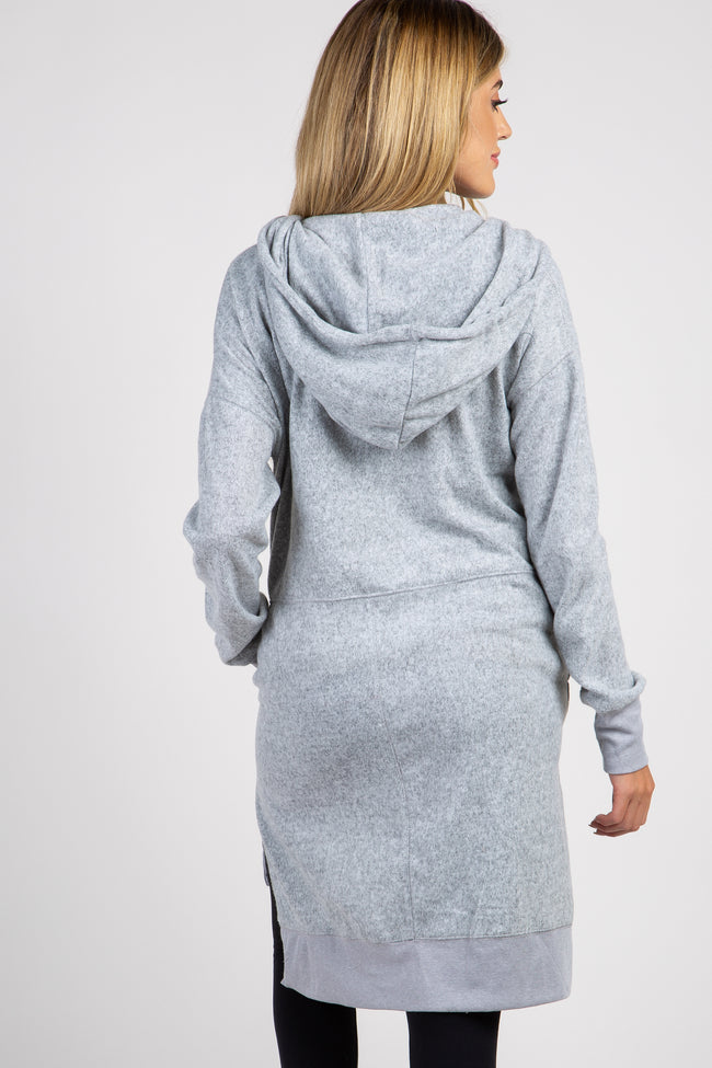 Grey Soft Knit Hooded Zipper Front Maternity Sweater