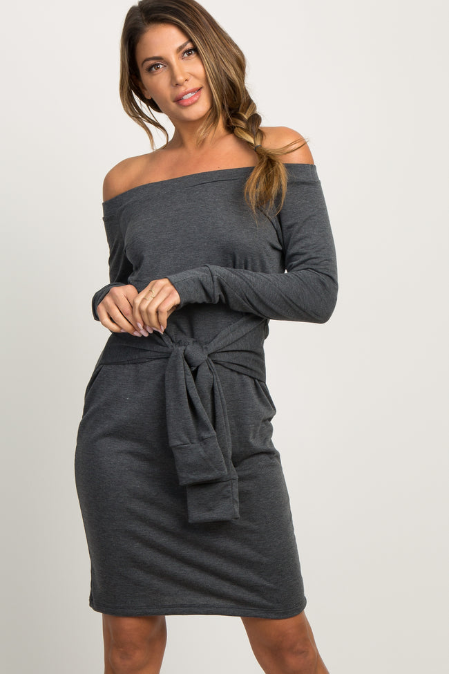 Charcoal Off Shoulder Mock Sleeve Tie Dress