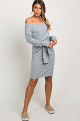 Grey Off Shoulder Mock Sleeve Tie Dress