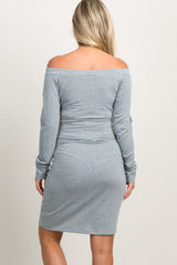 Grey Off Shoulder Mock Sleeve Tie Maternity Dress
