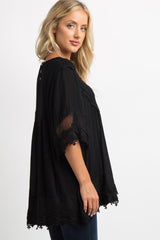 Black Crochet Mesh Scalloped Trim Top