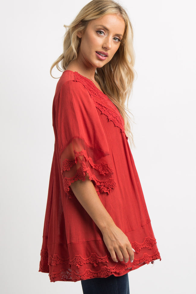 Red Crochet Mesh Scalloped Trim Top