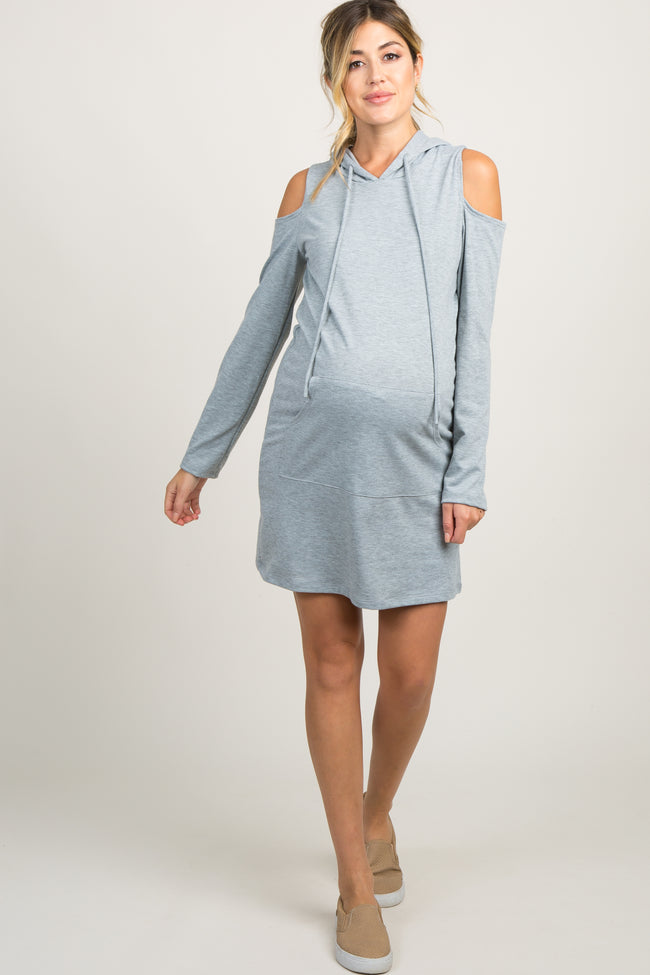Heather Grey Cold Shoulder Hooded Maternity Dress