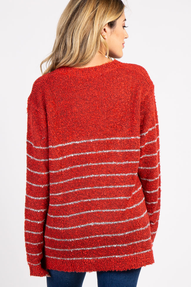 Red Striped Knit Long Sleeve Maternity Sweater