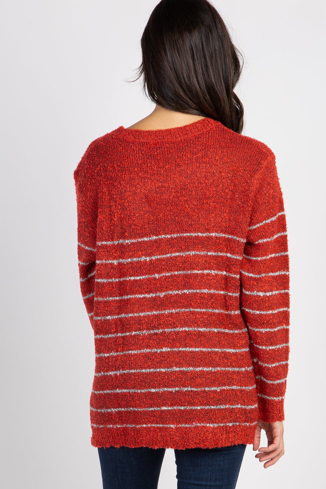 Red Striped Knit Long Sleeve Sweater