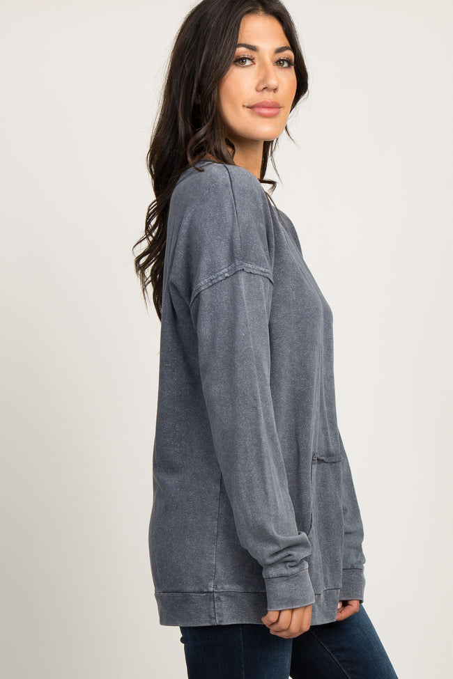 Charcoal Grey Faded Pocket Front Sweater