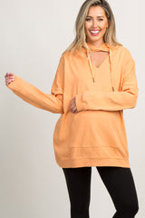 Orange Cutout Pocket Front Hooded Maternity Sweater