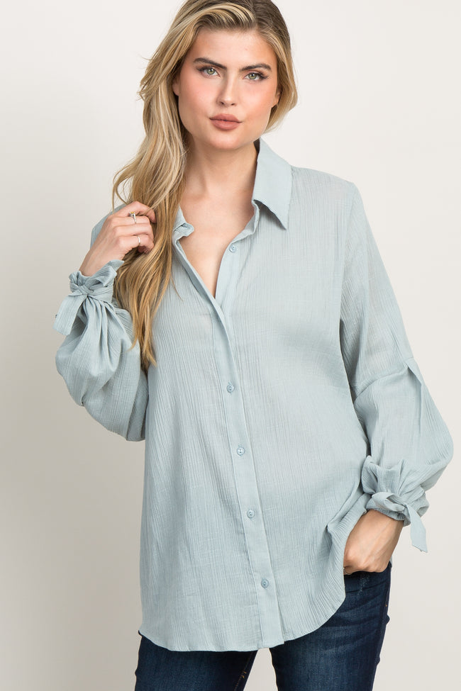Light Olive Button Up Puff Sleeve Top