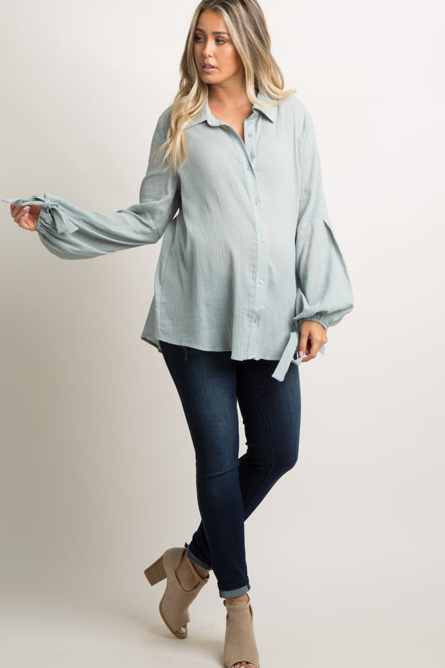 Light Blue Button Up Puff Sleeve Maternity Top