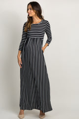 Black Striped Pleated Maternity Maxi Dress