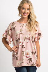 Light Pink Floral Layered Ruffle Sleeve Maternity Top