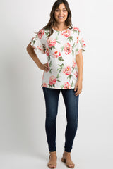 Ivory Floral Layered Ruffle Sleeve Maternity Top