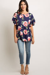 Navy Blue Floral Layered Ruffle Sleeve Top