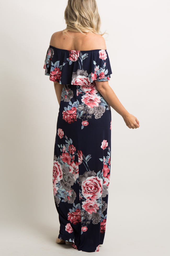 Navy Rose Floral Ruffle Trim Maternity Maxi Dress