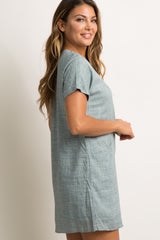 Grey Linen Pocket Shift Dress
