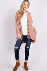 Peach Chenille Knit Button Front Cardigan