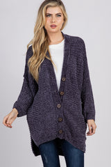 Charcoal Chenille Knit Button Front Maternity Cardigan
