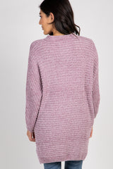 Lavender Chenille Knit Button Front Cardigan