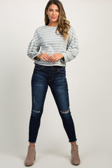 Heather Grey Puff Sleeve Striped Top