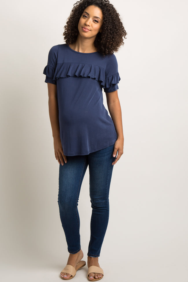 Navy Blue Ruffle Trim Maternity Top