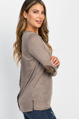 Beige Button Back Sequin Elbow Patch Top