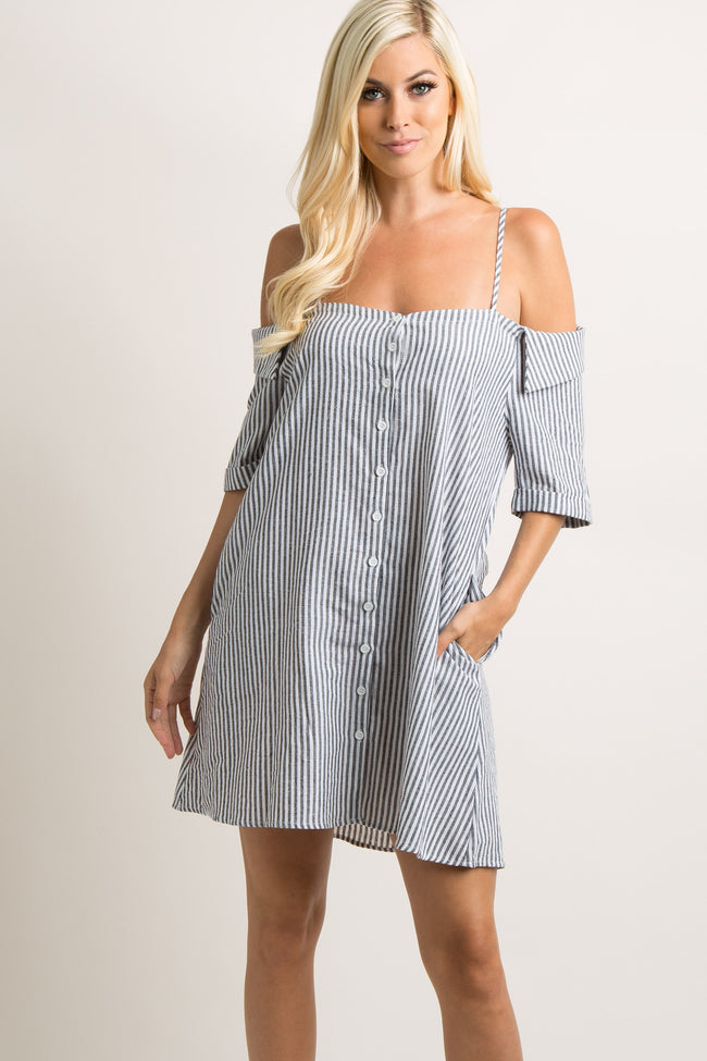 Black Striped Open Shoulder Button Down Dress