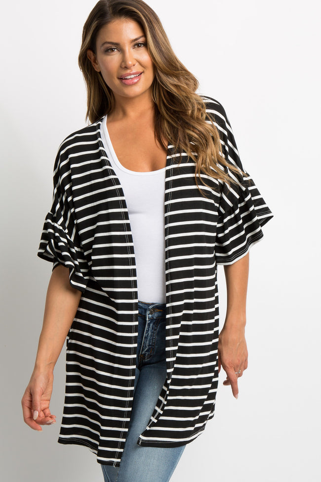 Black Striped Ruffle Sleeve Maternity Cardigan