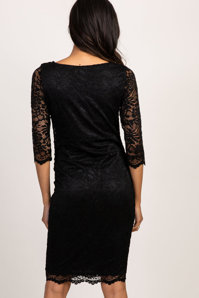 PinkBlush Black Lace Fitted 3/4 Sleeve Maternity Dress