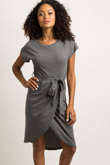 Charcoal Grey Pinstriped Wrap Front Dress
