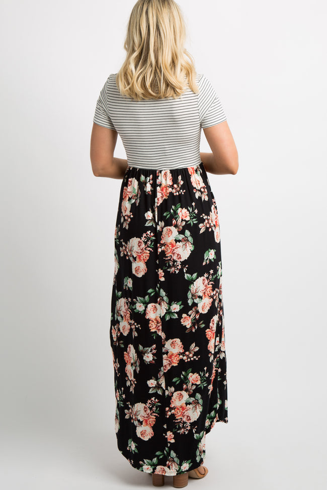 Black Floral White Striped Maternity Maxi Dress