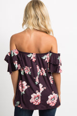 Purple Floral Layered Sleeve Tie Top