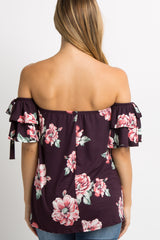Purple Floral Layered Sleeve Tie Maternity Top