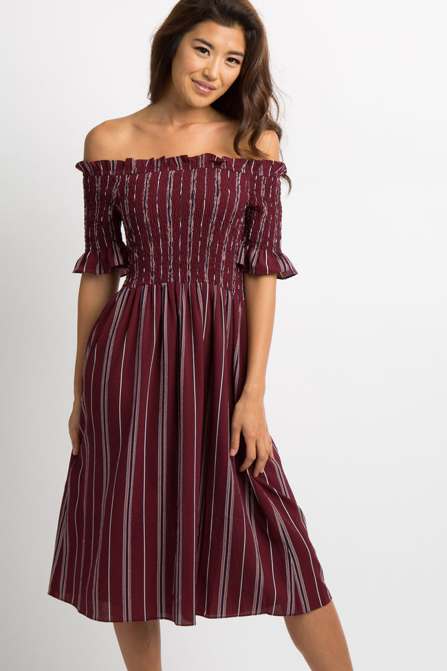 Burgundy Pinstriped Smocked Maternity Dress