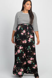 Black Striped Colorblock Floral Plus Maxi Dress