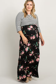 Black Striped Colorblock Floral Maternity Plus Maxi Dress