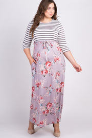 Mocha Striped Colorblock Floral Maternity Plus Maxi Dress