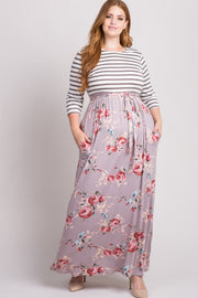Mocha Striped Colorblock Floral Plus Maxi Dress