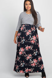 Blue Striped Colorblock Floral Plus Maxi Dress