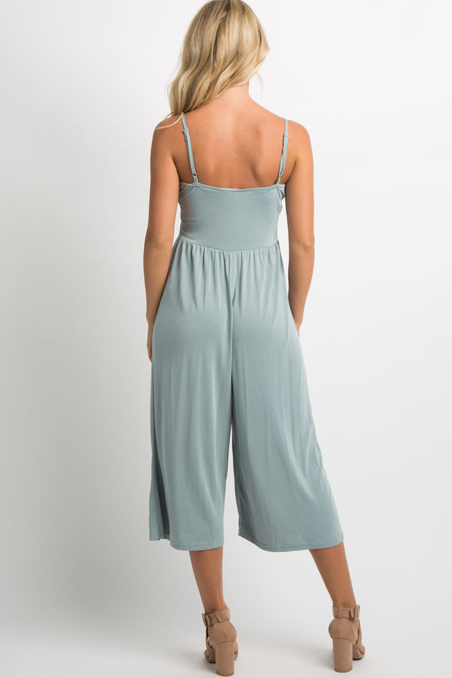 Sage Green Cropped Cami Jumpsuit