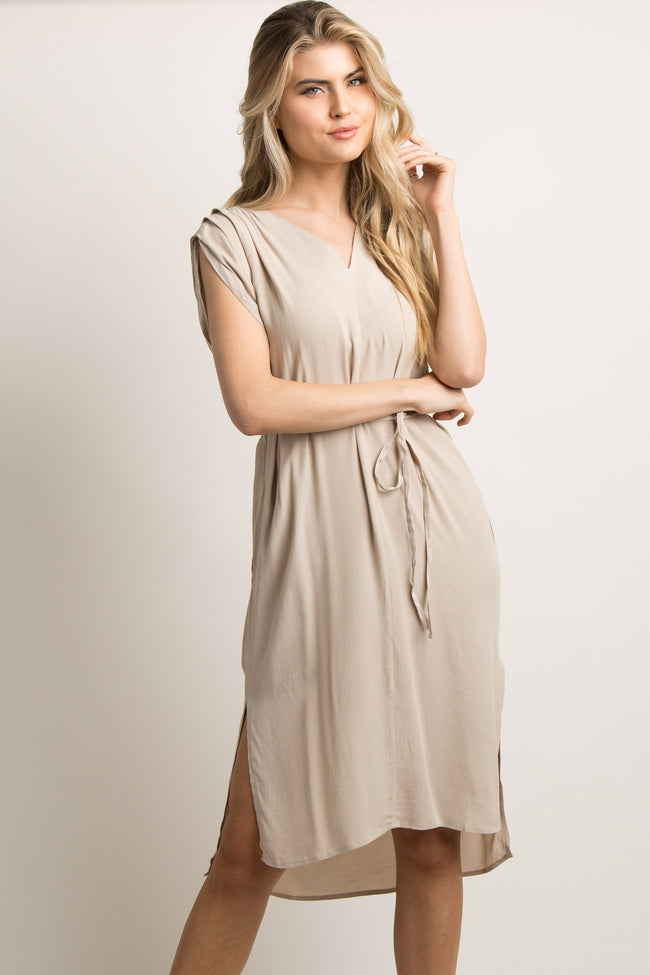 Taupe Waist Tie Shoulder Pleated Hi-Low Midi Dress