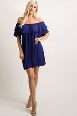 Navy Off Shoulder Ruffle Trim Dress