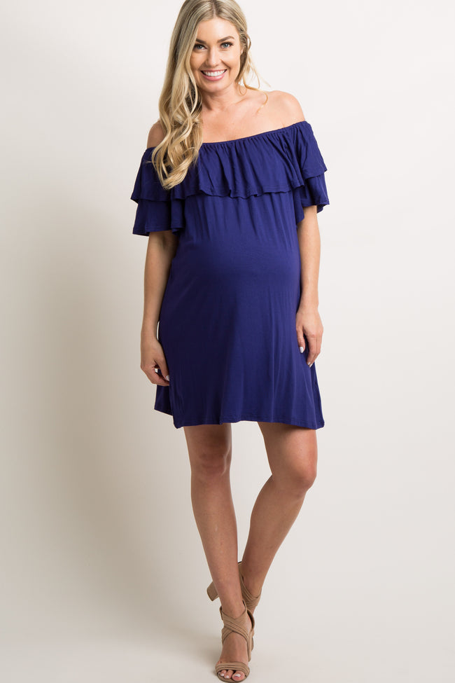 Navy Off Shoulder Ruffle Trim Maternity Dress