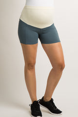 Teal Laser Cut Pocket Active Maternity Shorts