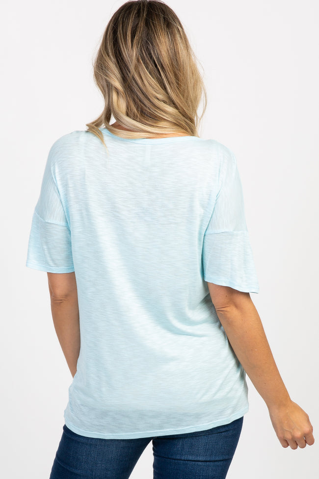 "Light Blue ""Happy Mama"" Graphic Maternity Top"