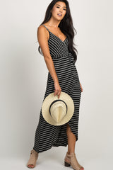 Black Striped Hi-Low Maternity Wrap Dress