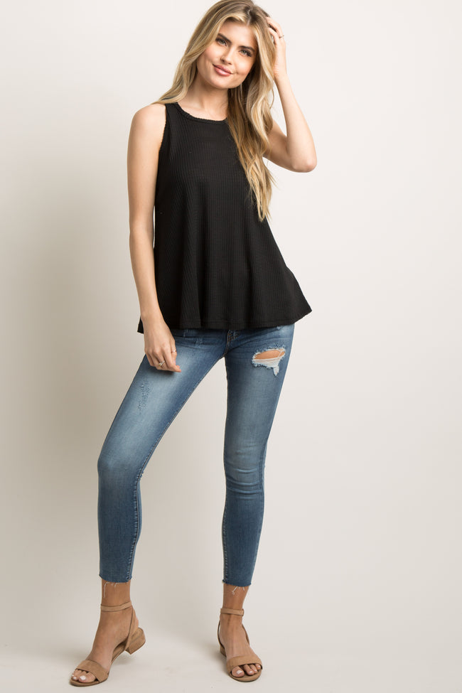 Black Solid Tank Top